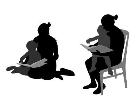 niños leyendo: madre leyendo el libro al niño siluetas - vector