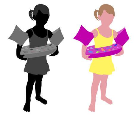 floating: little girl ready for the beach - vector Illustration