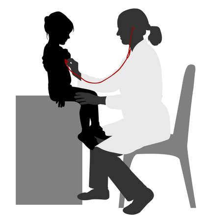 silueta niño: Examen del pediatra del niño con el estetoscopio - vector