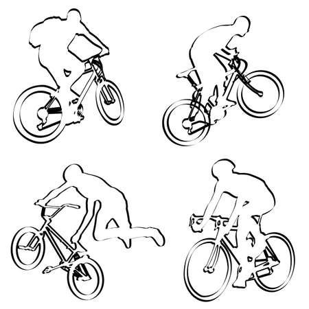 bicyclists: bicyclists outline - vector Illustration