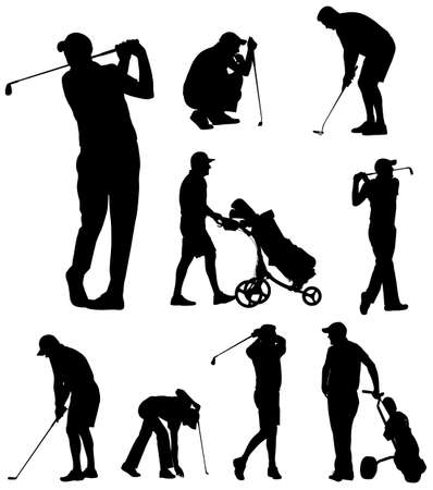 golfer silhouettes collection - vector