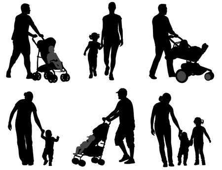 niño empujando: padres caminando con sus hijos siluetas - vector