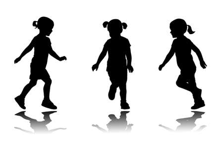vector girl: little girl running silhouettes - vector