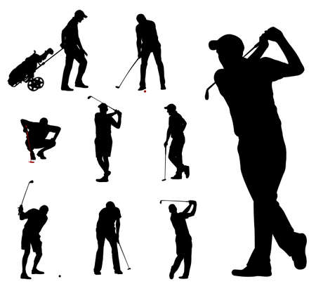 golf: golfer silhouettes collection - vector