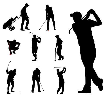 silueta: golfista siluetas colección - vector