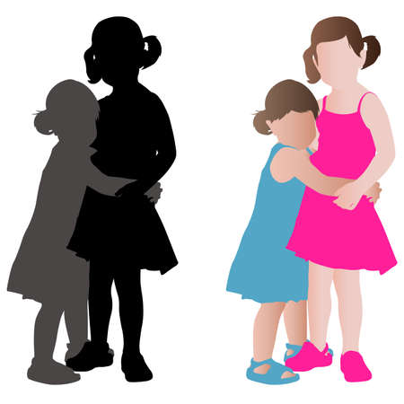 siblings: two adorable little girls in summer dresses hugging - vector