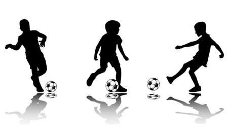 kids football: soccer kids silhouettes - vector