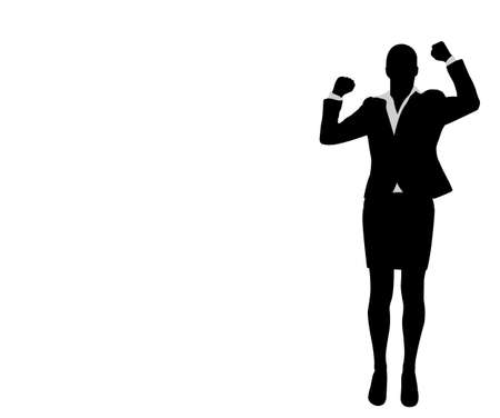 businesswoman with her hands up, celebrating success - vector