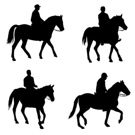 horseback riding: people riding horses silhouettes - vector Illustration