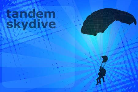 skydiving: skydiving tandem - vector Illustration