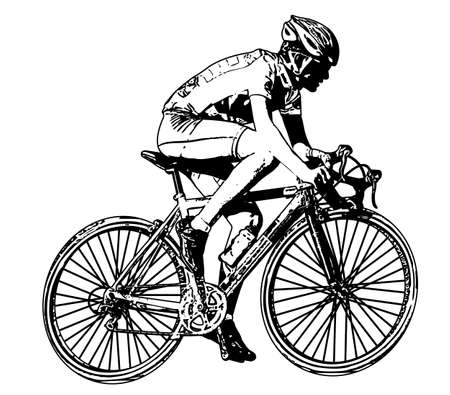 bicyclists: race bicyclist illustration 2 - vector Illustration