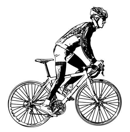 bicyclist: race bicyclist illustration 3 - vector