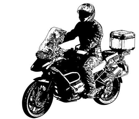 motociclista ilustración - vector