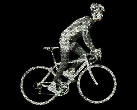 bicicleta vector: ciclista hecha de mosaico - vector Vectores