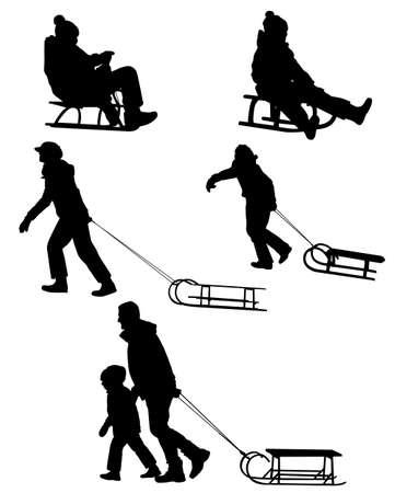 silhouettes: sledding silhouettes Illustration