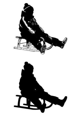 sledding: sledding illustration and silhouette - vector Illustration