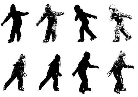 speed skating: ice skating kids silhouettes