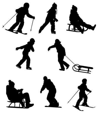 Kinder genießen den Wintersport Vektorgrafik