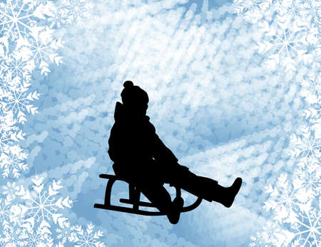 sledding: Kid sledding silhouette on the abstract background