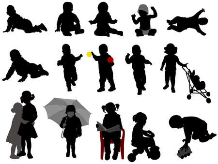 sweet baby girl: babies and toddlers silhouettes collection - vector