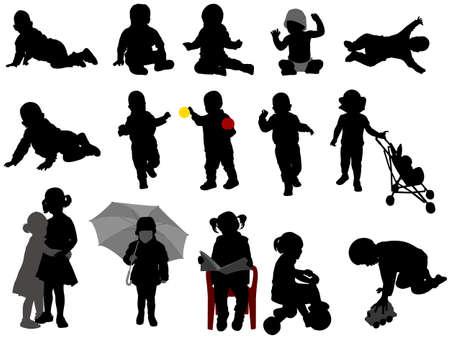 bebe sentado: bebés y niños pequeños siluetas colección - vector