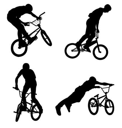bmx bike: 4 high quality bmx cyclist silhouettes Illustration