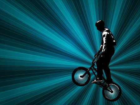 stunt: bmx stunt cyclist on the abstract background
