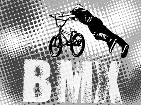 bmx bike: bmx stunt cyclist on the abstract background