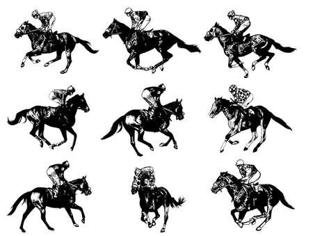 jockey's: racing horses and jockeys illustration - vector