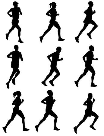 long distance: marathon runners silhouettes