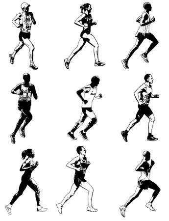 pentathlon: marathon runners illustration