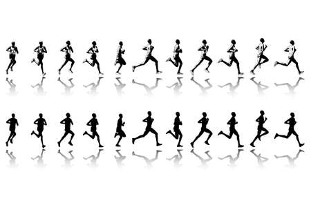 forms: marathon runner in 11 continuous steps