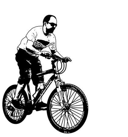 mtb: mtb cyclist illustration