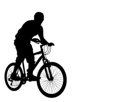mountain silhouette: mtb cyclist silhouette Illustration