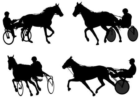 Trotters race silhouettes - vector Illustration