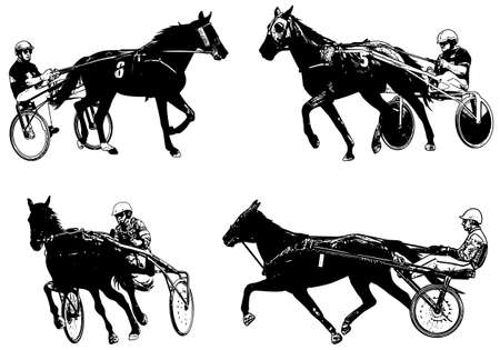 pacing: Trotters race sketch illustration - vector
