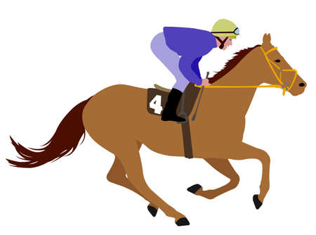 saddle: jockey riding race horse illustration