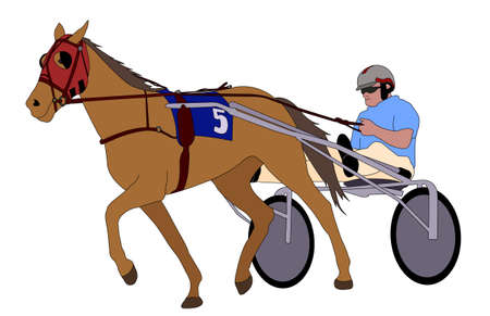 pacing: Trotter in harness illustration -  vector