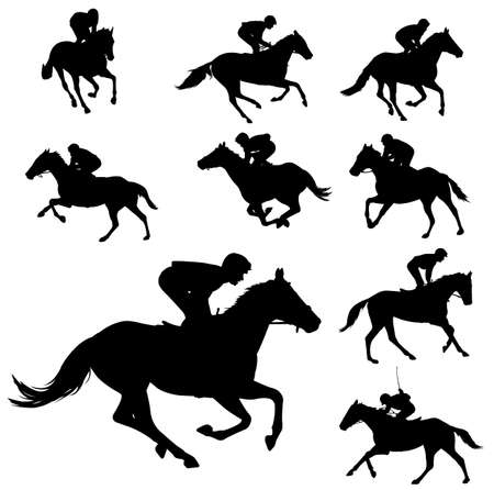 jockey's: racing horses and jockeys silhouettes
