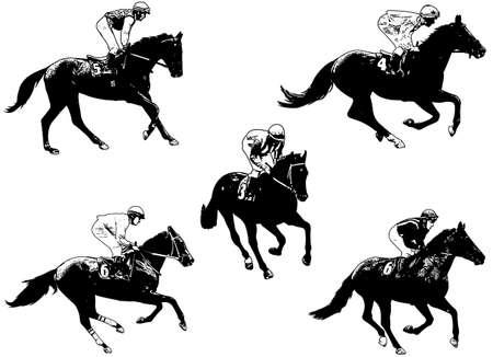 jockey's: racing horses and jockeys illustration 2 - vector