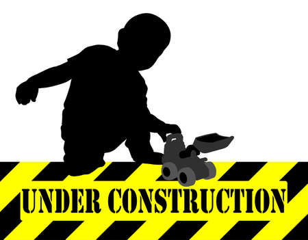 tractor warning sign: under construction sign,boy playing with bulldozer toy