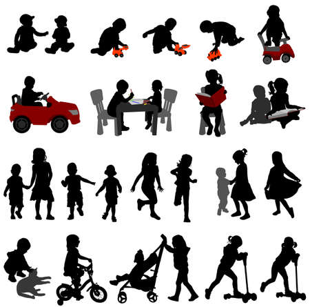 toddlers: toddlers and kids silhouettes collection - vector