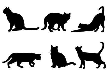 siluetas de gatos - vector Vectores