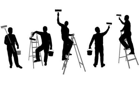 painter: house painters silhouettes - vector Illustration