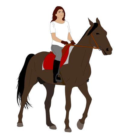Vrouw rijden paard 2 - vector