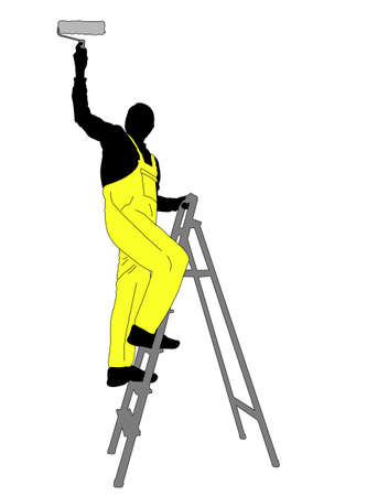 man painting: man painting a ceiling silhouette - vector Illustration