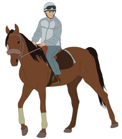 male teenager: man riding a horse - vector illustration