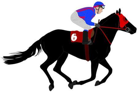 jockey riding race horse illustration 6 - Illustration