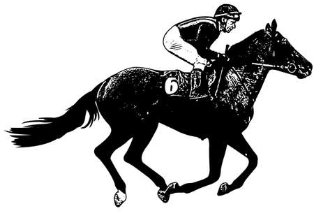 hippodrome: jockey riding galloping race horse sketch illustration - vector
