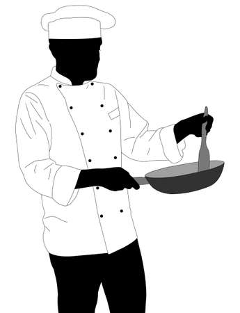 preparing food: chef preparing food in frying pan silhouette - vector